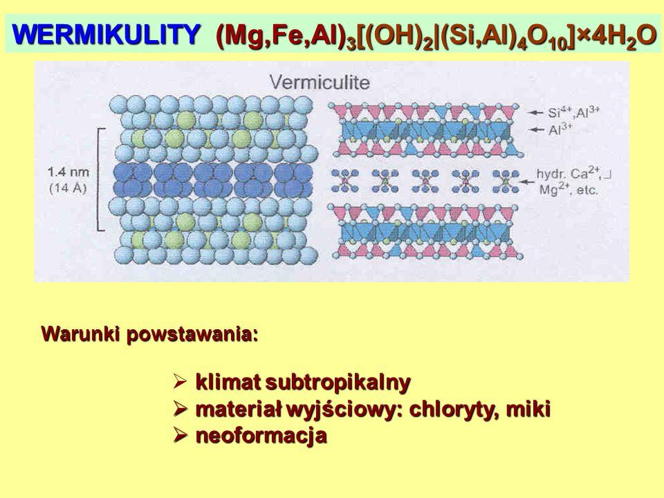 WERMIKULITY (Mg,Fe,Al)3[(OH)2|(Si,Al)4O10]×4H2O